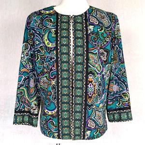 Joan Rivers Green & Purple Paisley Open Blazer